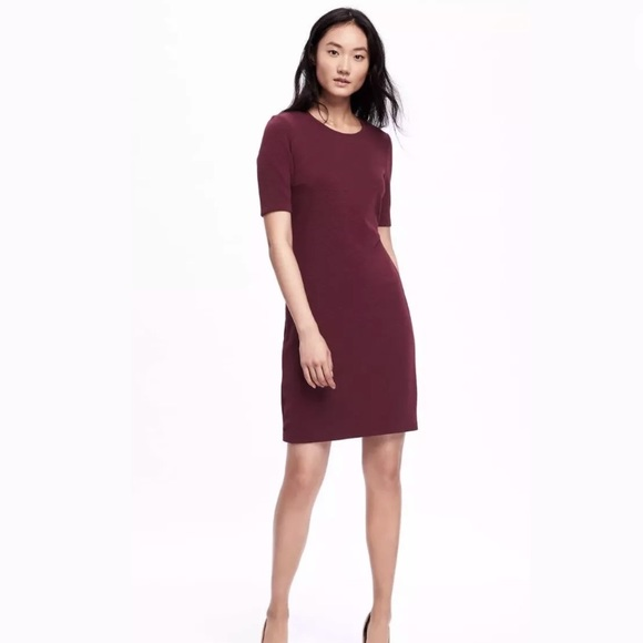 c5b8b86b Old Navy Dresses | Ponte Shift Dress Maroon Textured Xxl | Poshmark